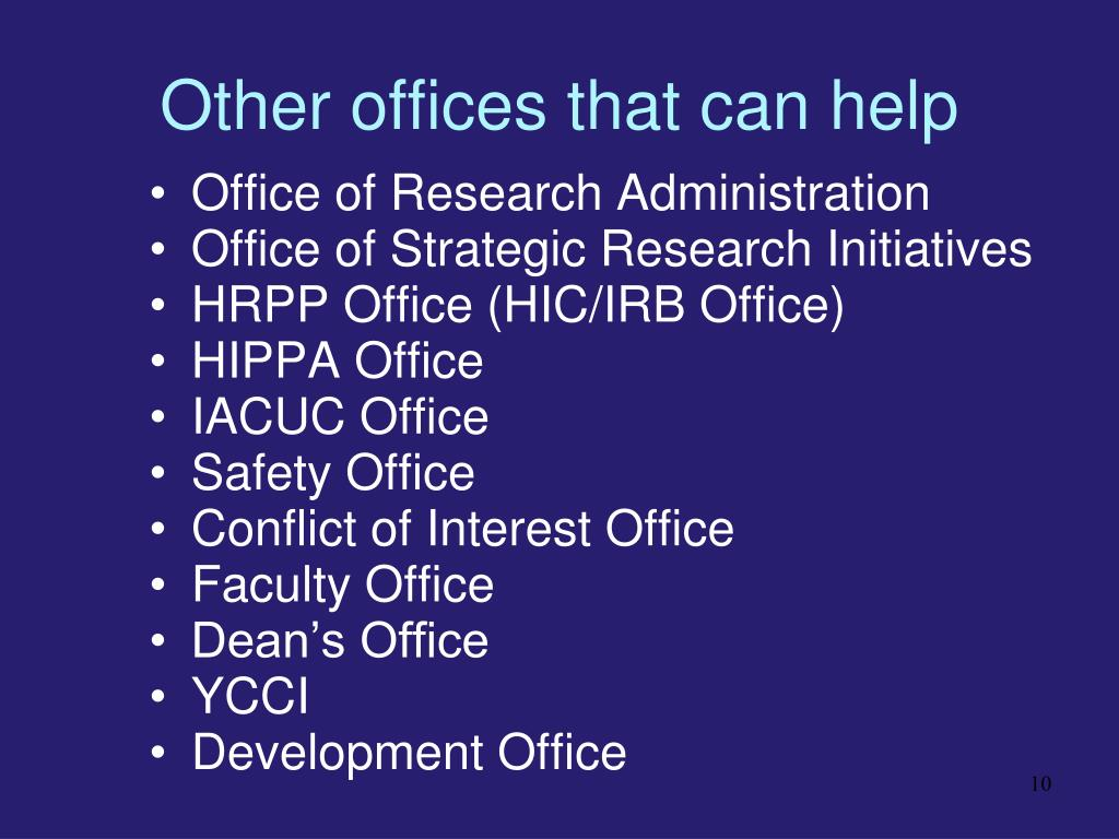 Other offices that can help