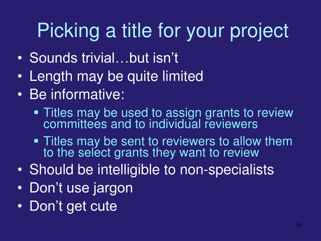 Picking a title for your project