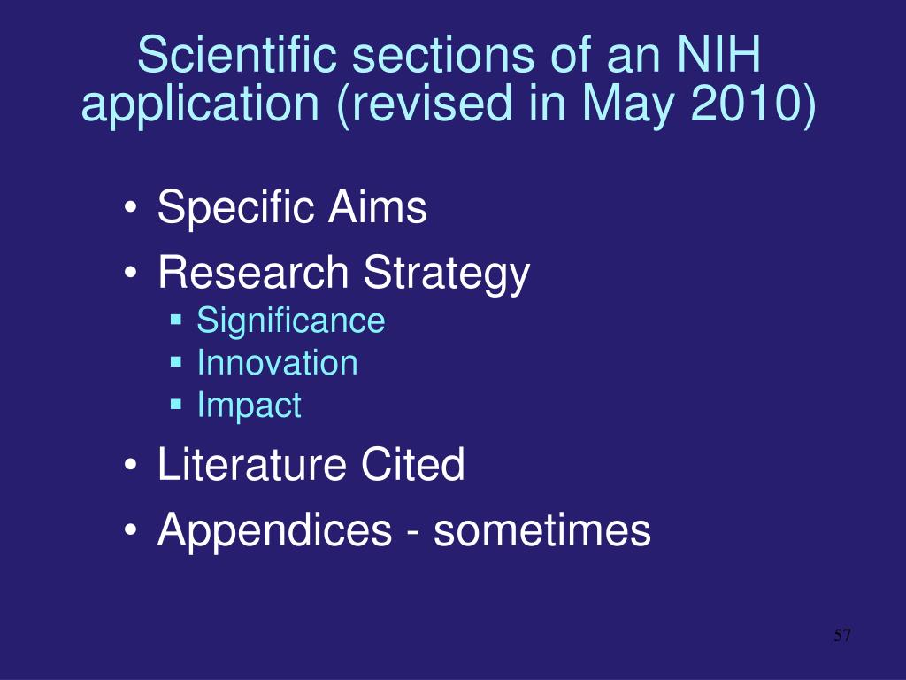Scientific sections of an NIH application (revised in May 2010)