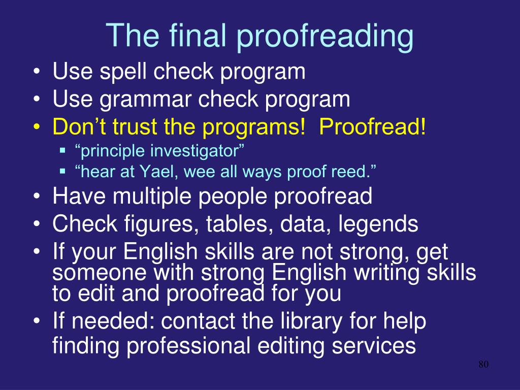 The final proofreading