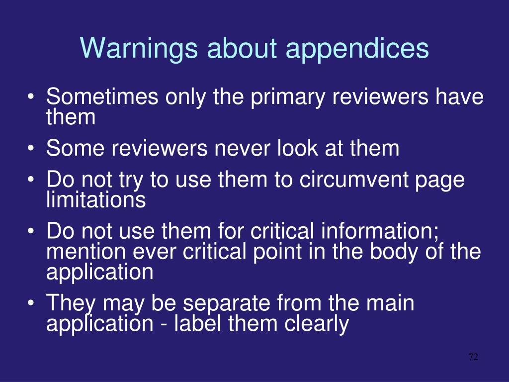 Warnings about appendices