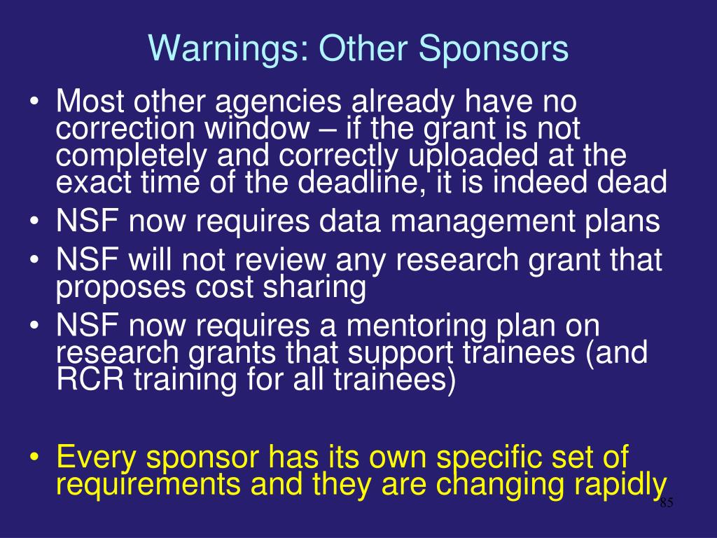 Warnings: Other Sponsors