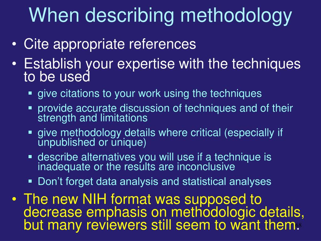 When describing methodology