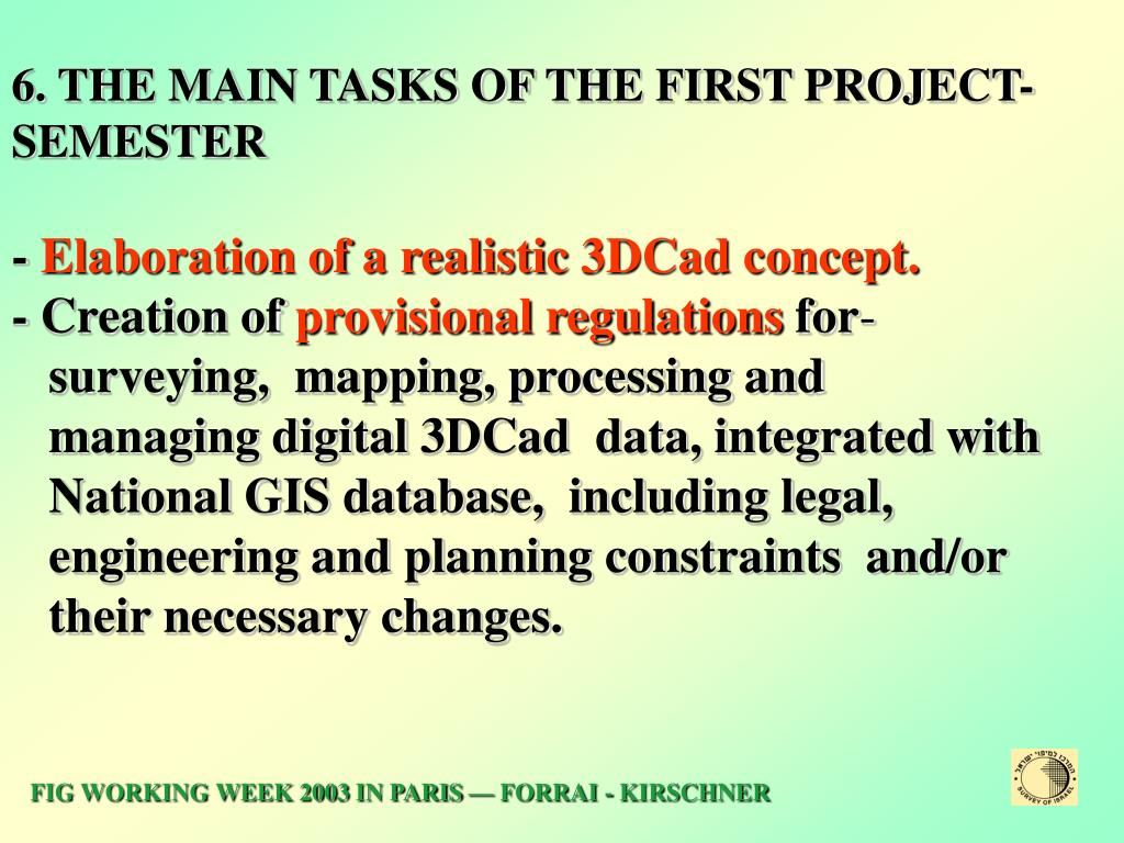 6. THE MAIN TASKS OF THE FIRST PROJECT-SEMESTER