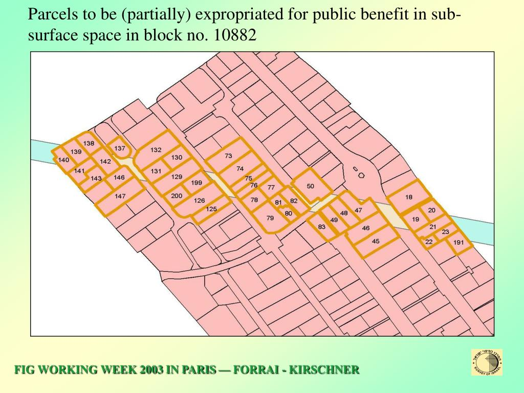 Parcels to be (partially) expropriated for public benefit in sub-surface space in block no. 10882
