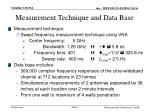measurement technique and data base