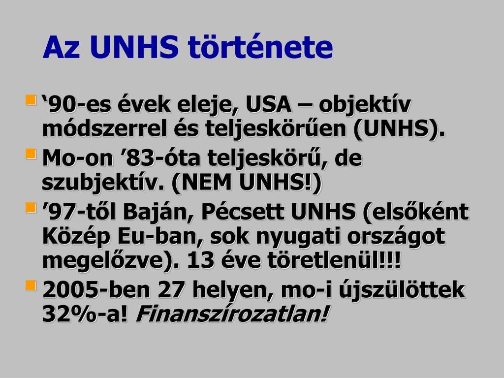 Az UNHS története
