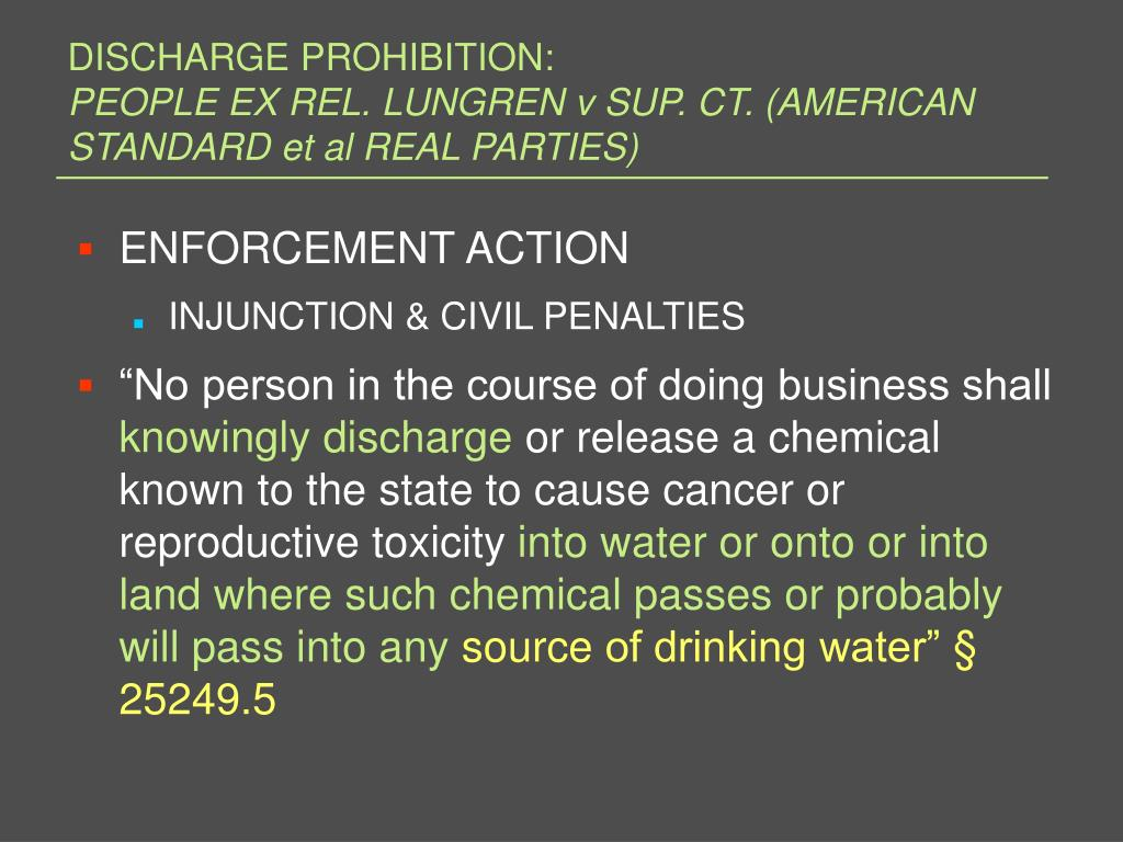 DISCHARGE PROHIBITION: