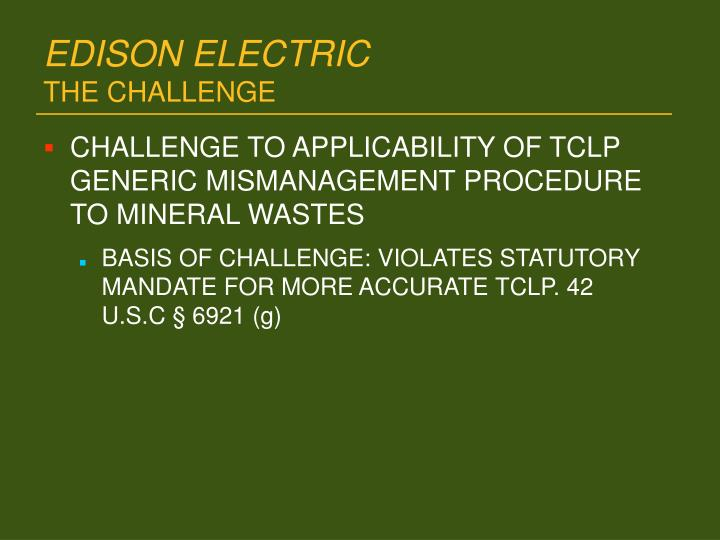 Edison electric the challenge