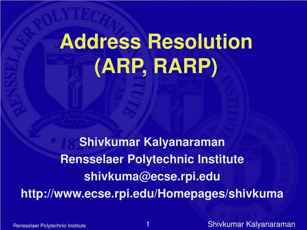 address resolution arp rarp l.