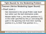 tight bounds for the relabeling problem19