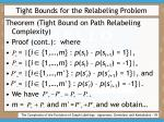 tight bounds for the relabeling problem39