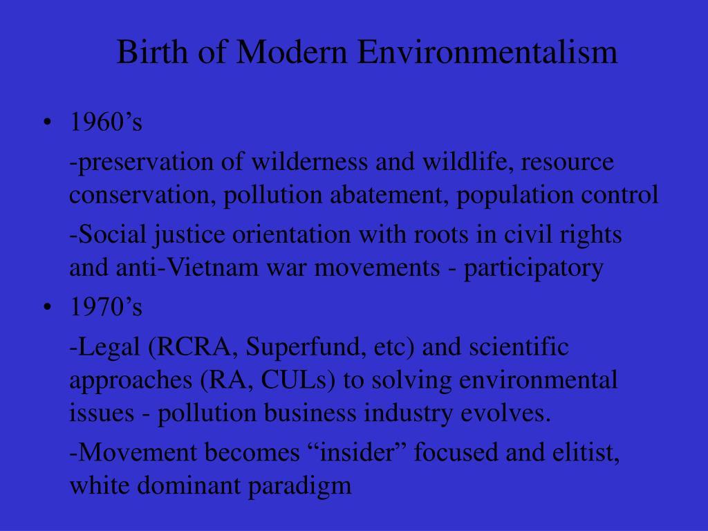 Birth of Modern Environmentalism