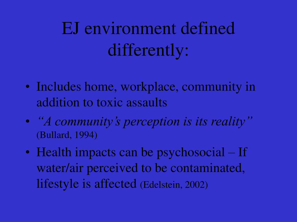 EJ environment defined differently: