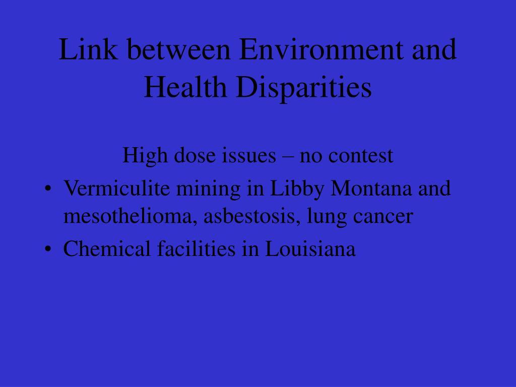 Link between Environment and Health Disparities