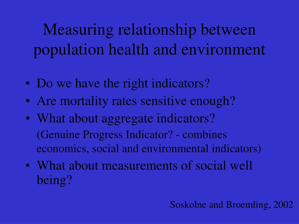 Measuring relationship between population health and environment
