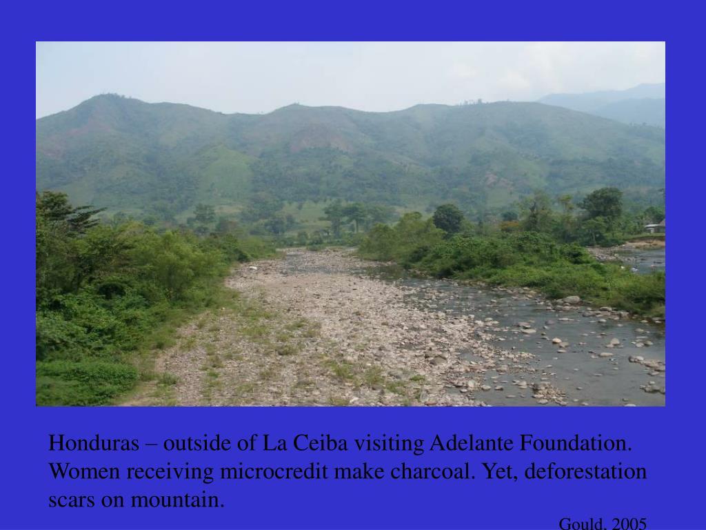Honduras – outside of La Ceiba visiting Adelante Foundation.  Women receiving microcredit make charcoal. Yet, deforestation scars on mountain.