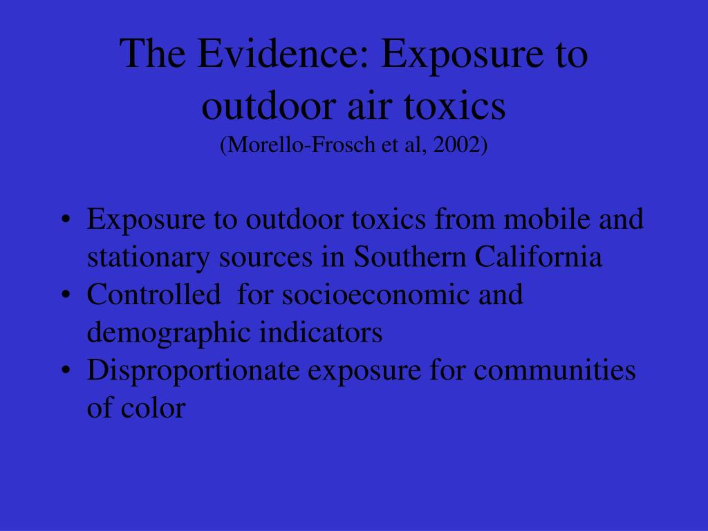 The Evidence: Exposure to outdoor air toxics