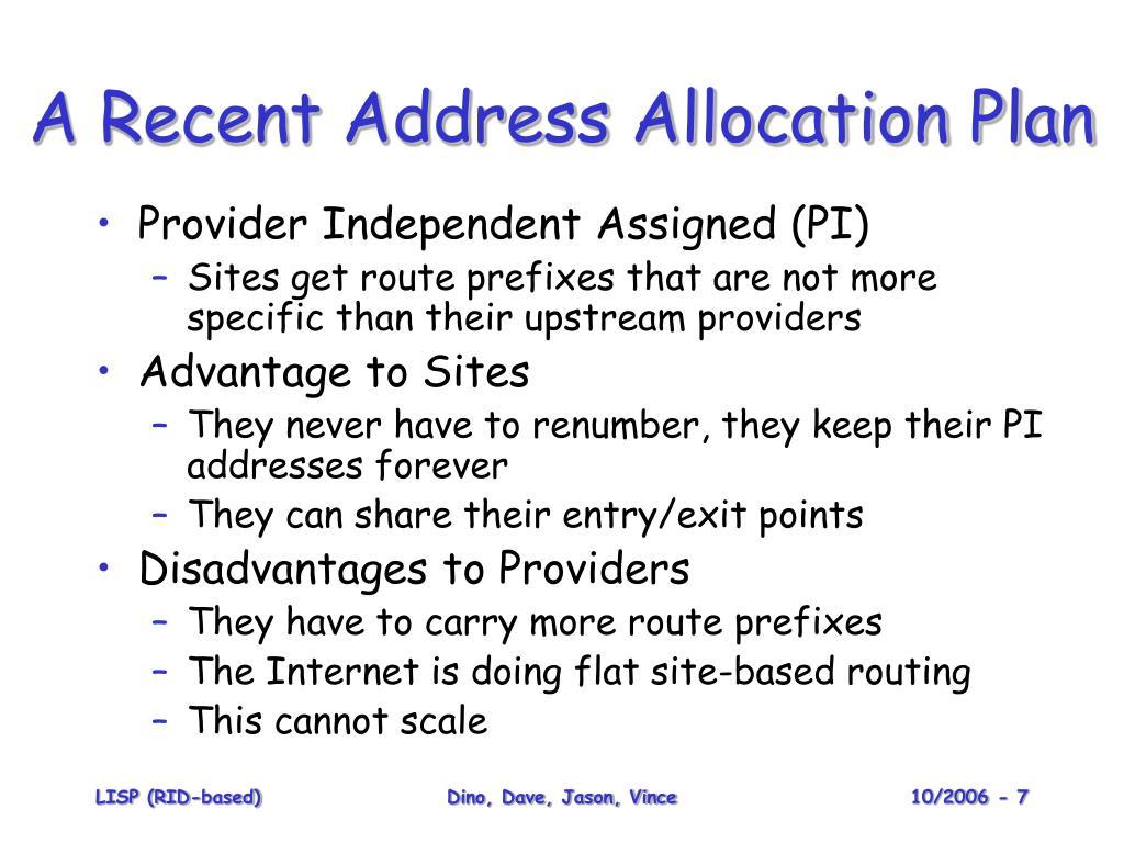 A Recent Address Allocation Plan