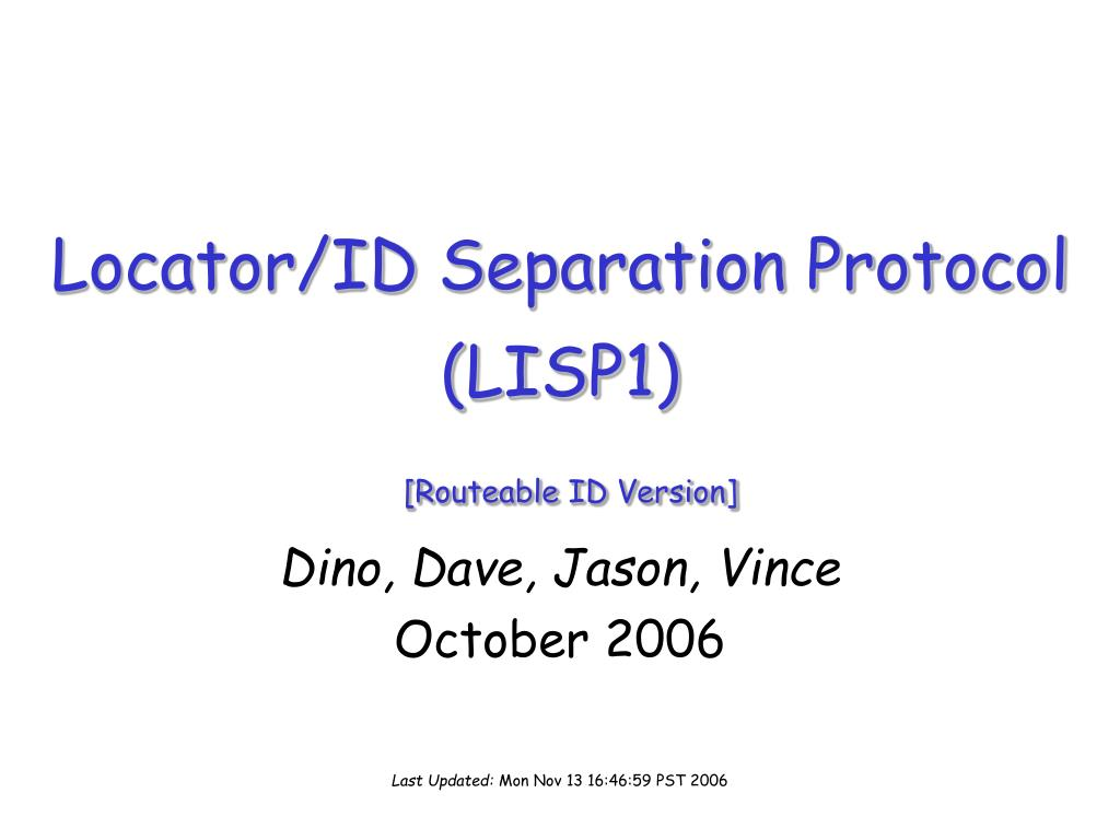 locator id separation protocol lisp1 routeable id version l.