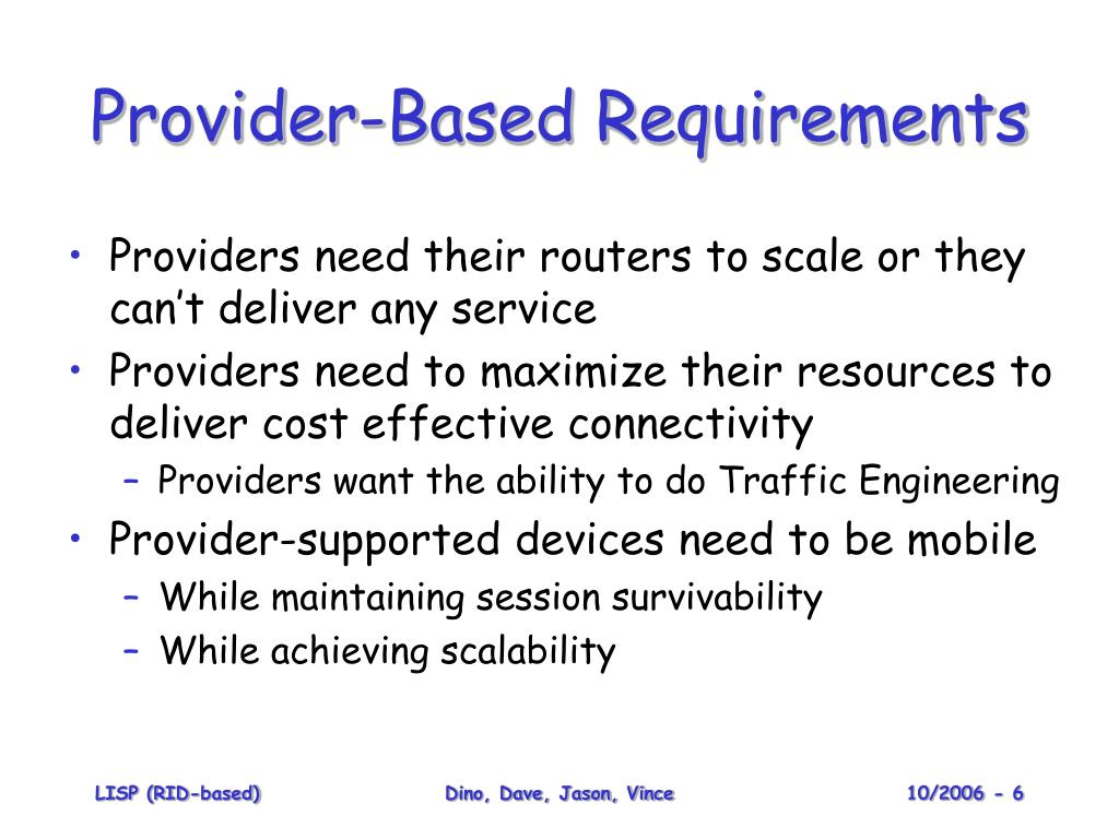 Provider-Based Requirements