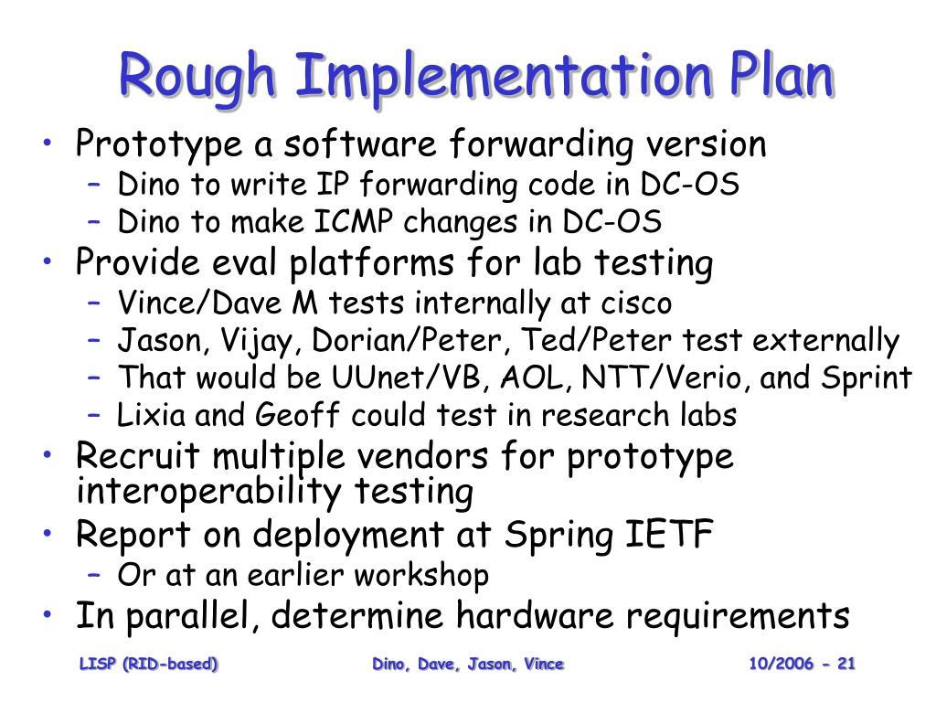 Rough Implementation Plan