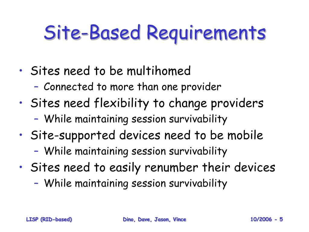 Site-Based Requirements