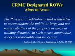 crmc designated rows adopt an access12