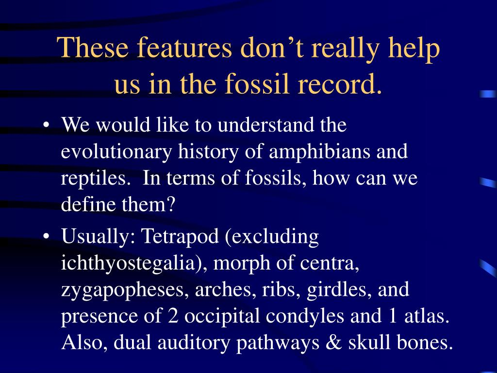These features don't really help us in the fossil record.