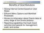 benefits of grantsolutions