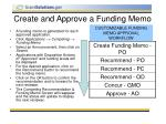 create and approve a funding memo