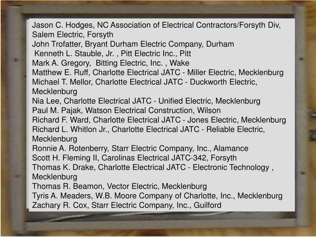 Jason C. Hodges, NC Association of Electrical Contractors/Forsyth Div, Salem Electric, Forsyth