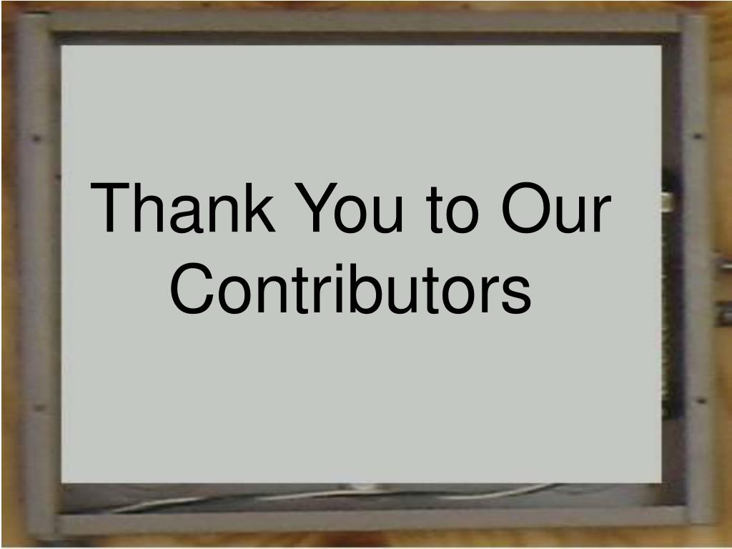 Thank You to Our Contributors