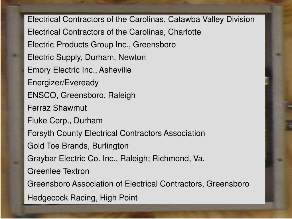 Electrical Contractors of the Carolinas, Catawba Valley Division
