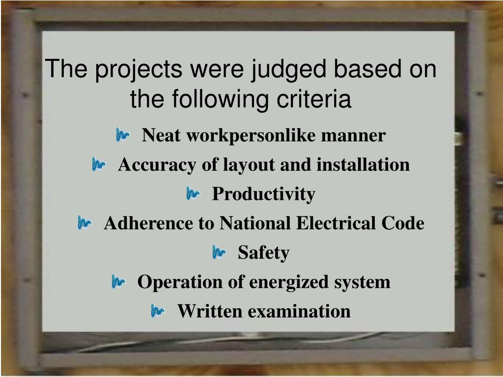 The projects were judged based on the following criteria