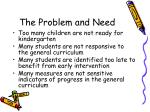 the problem and need