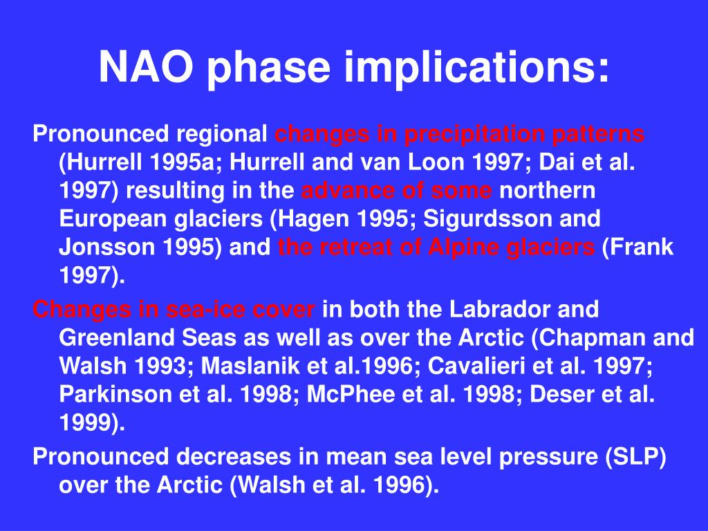 NAO phase implications: