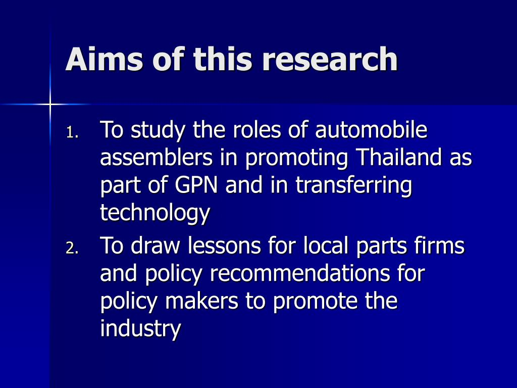 Aims of this research