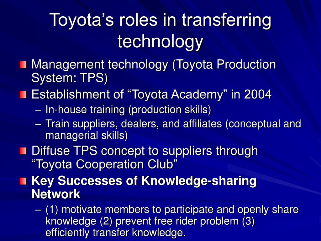 Toyota's roles in transferring technology