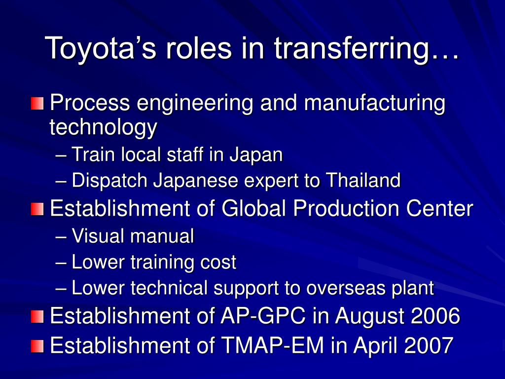 Toyota's roles in transferring…
