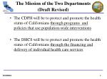 the mission of the two departments draft revised