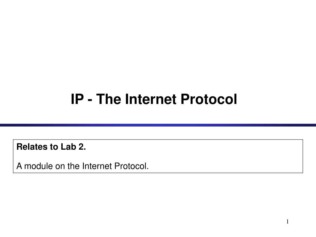 ip the internet protocol l.