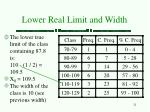 lower real limit and width