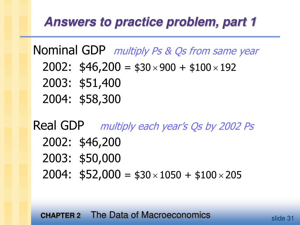 Answers to practice problem, part 1