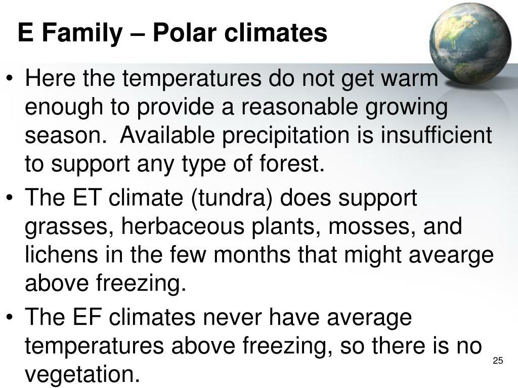 E Family – Polar climates