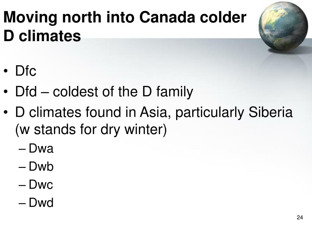 Moving north into Canada colder D climates