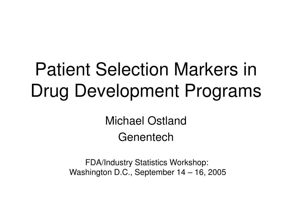 patient selection markers in drug development programs l.