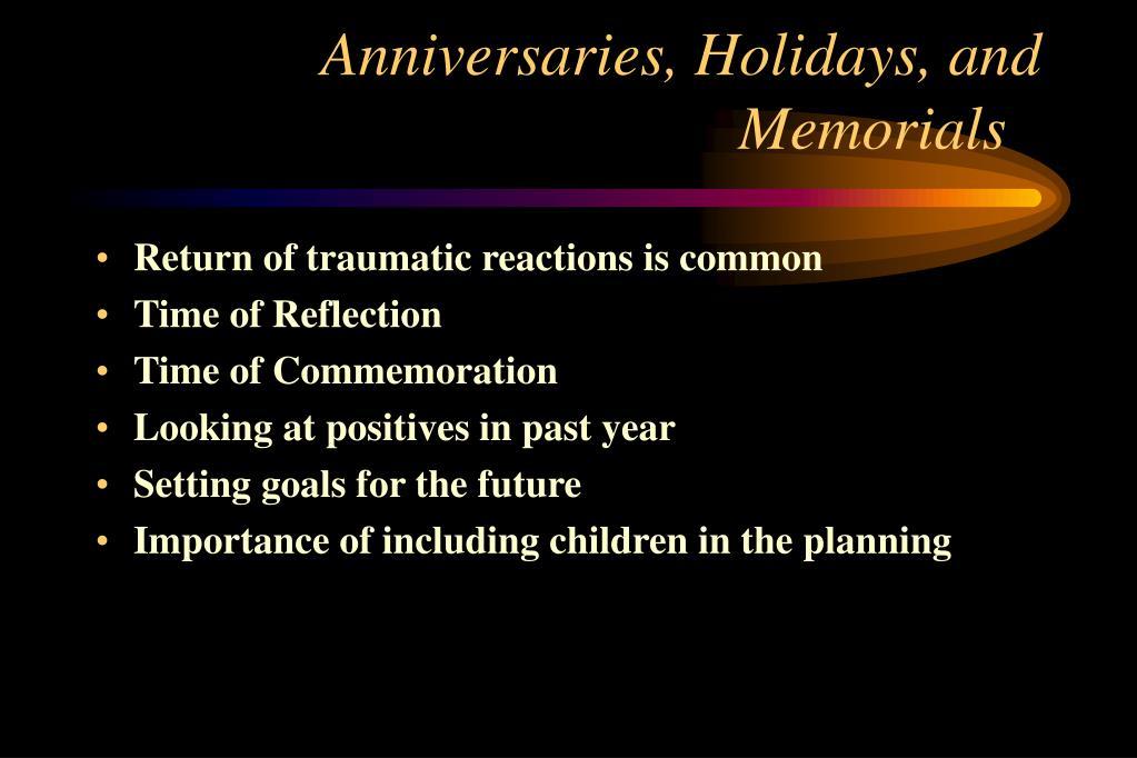 Anniversaries, Holidays, and Memorials