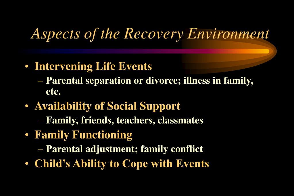 Aspects of the Recovery Environment