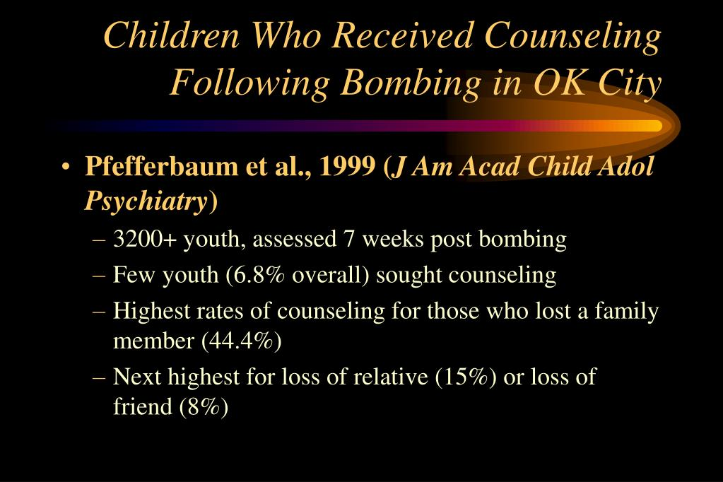 Children Who Received Counseling Following Bombing in OK City